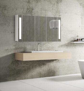Zrkadlová skrinka s led osvetlením Venedig, 120 cm, 3 dvierka, moderný kúpeľňový nábytok a zrkadlové skrinky s led osvetlením za najlepšiu cenu | www.zrkadloveskrinky.eu